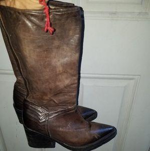 Vintage havana leather cowboy boots size 7